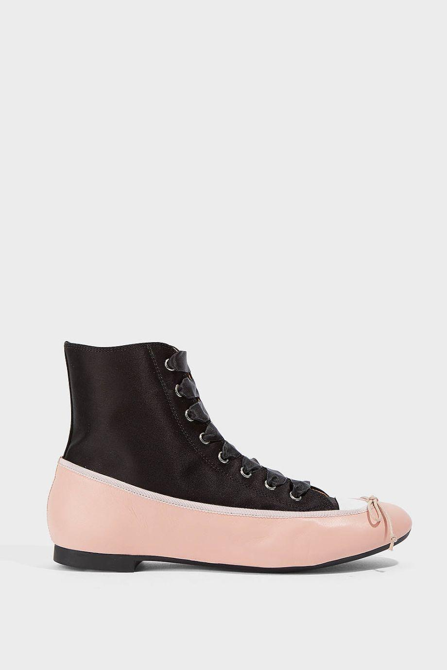 Marco De Vincenzo Satin And Leather Trainers In Black, Light-Pink
