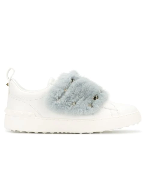 Valentino Open Mink Fur-Trimmed Leather Sneakers In White