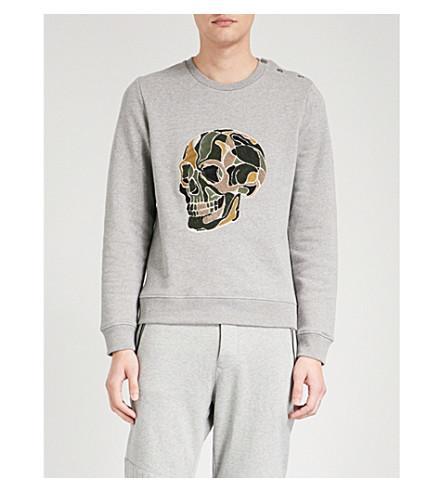 3efa319f335 The Kooples Skull-Embroidered Cotton-Jersey Sweatshirt In Grey ...