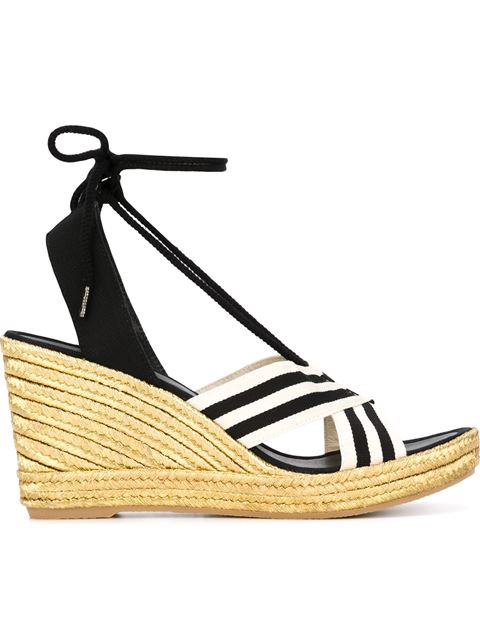 Marc Jacobs Dani Metallic Wedge Espadrille Sandals In Black & White
