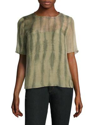 Eileen Fisher Shibori Short-Sleeve Silk Box Top In Oregano