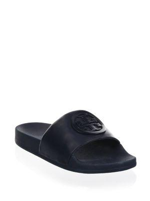 a2b929809ad A tonal double-T medallion brands the smooth leather strap of this casually  cool slide sandal. Style Name  Tory Burch Lina Slide Sandal (Women).
