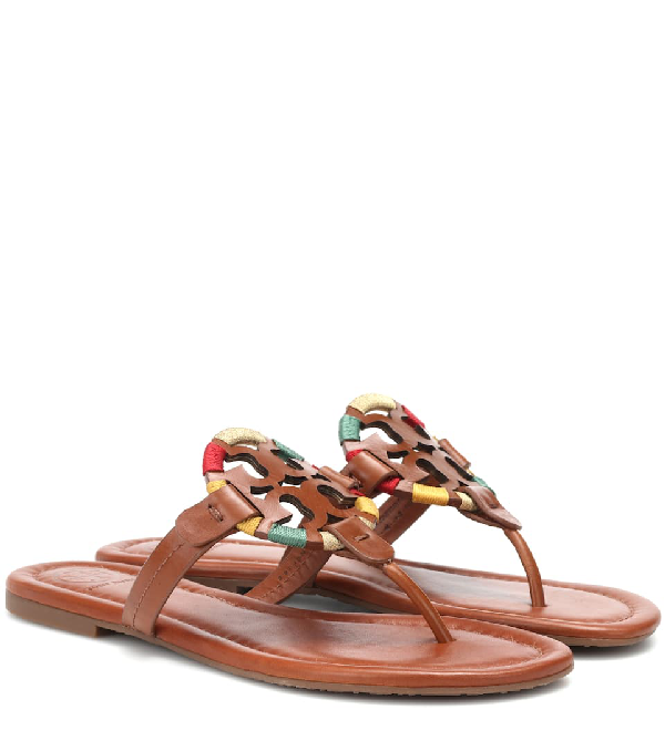 a3b697008812 Tory Burch Miller Flat Embroidered Medallion Sandal In Brown