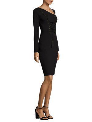 Versace Asymmetric Lace-up Dress In Black