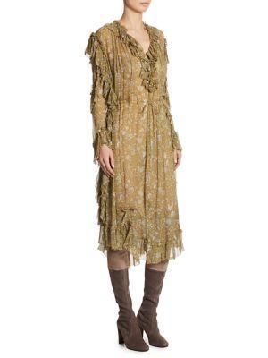 6198f8f2882c Zimmermann Rife Ruffle-Trim Floral-Print Silk Dress In Mustard Floral
