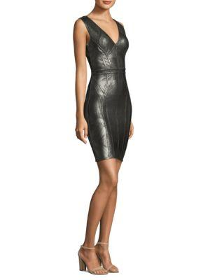 90dfa318bcaa Herve Leger Sleeveless Foil Bodycon Dress In Malachite Combo