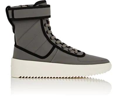 the best attitude f3d4d 85f9b Fear Of God Men s Leather High-Top Military Sneakers, Gray Black In ...