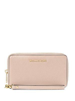 5f9180616237 Michael Michael Kors Flat Multi-Function Large Leather Smartphone Wristlet  In Soft Pink