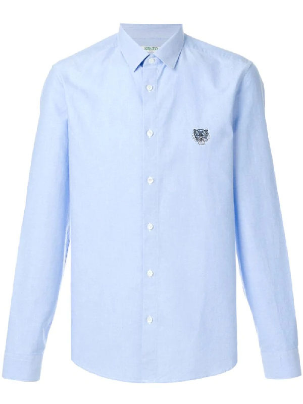 Kenzo Embroidered Cotton Shirt In Blue