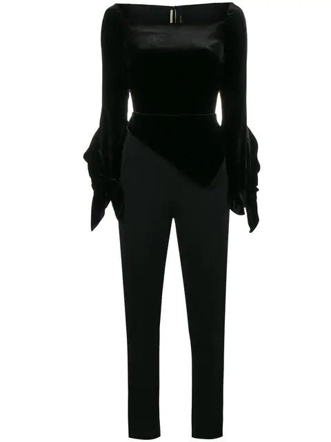 Roland Mouret Rayleigh Long-Sleeve Velvet Combo Jumpsuit In Black