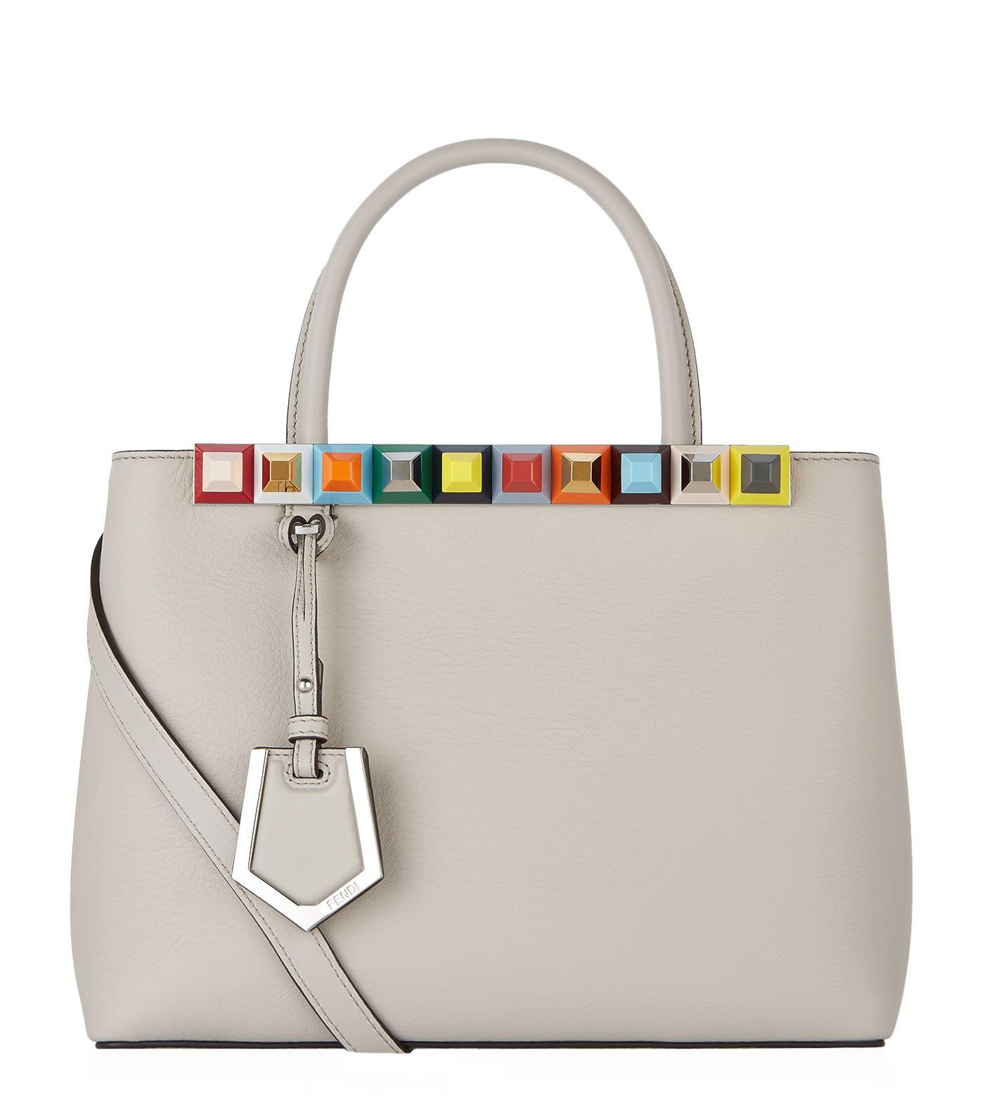 cadfc36d6574 Fendi 2Jours Studded Shopper Tote Bag In Grey