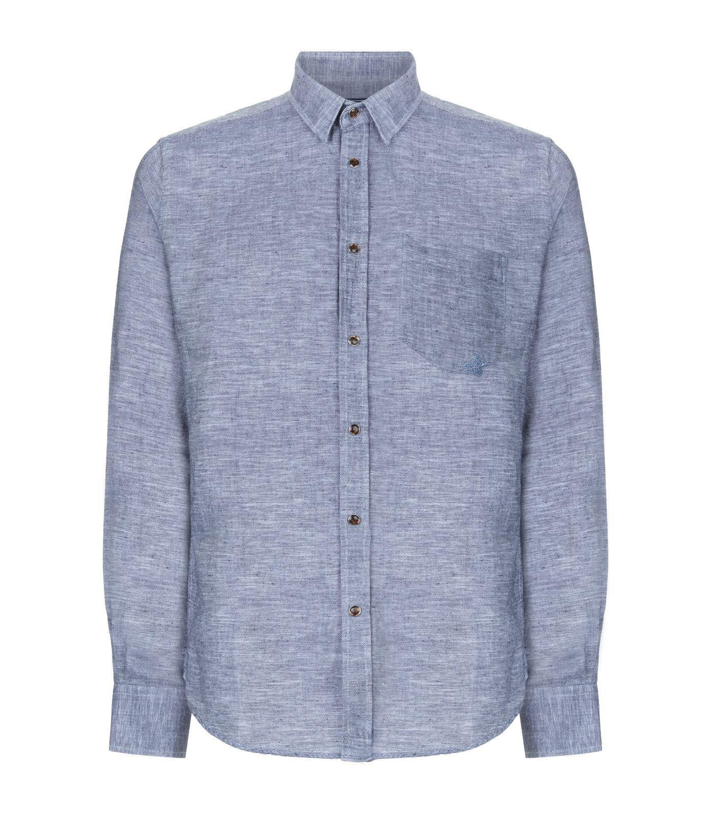 Vilebrequin Cajou Cotton Linen Shirt In Blue