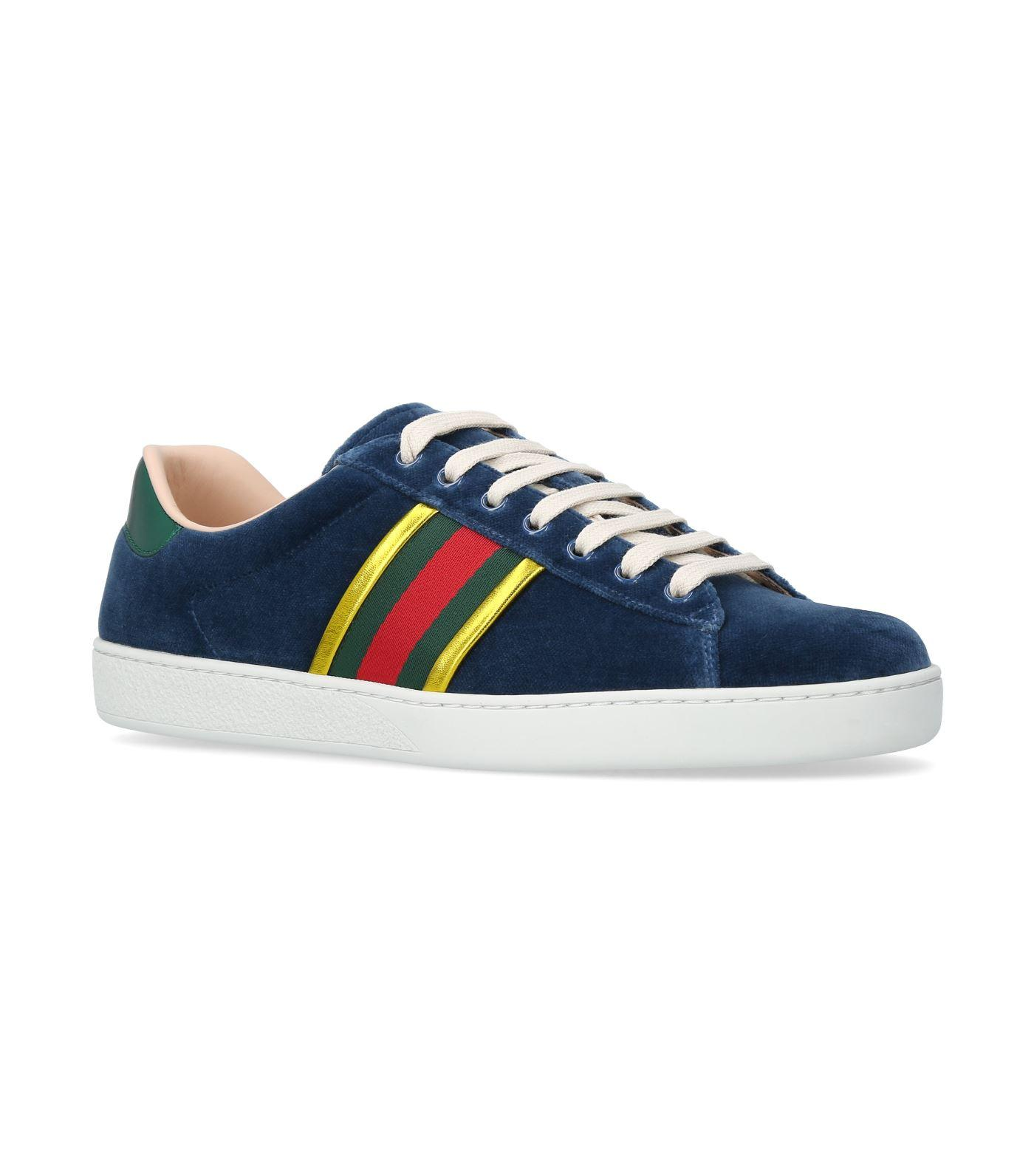 40dee132a71e Gucci Ace Velvet Low-Top Sneakers In Blue