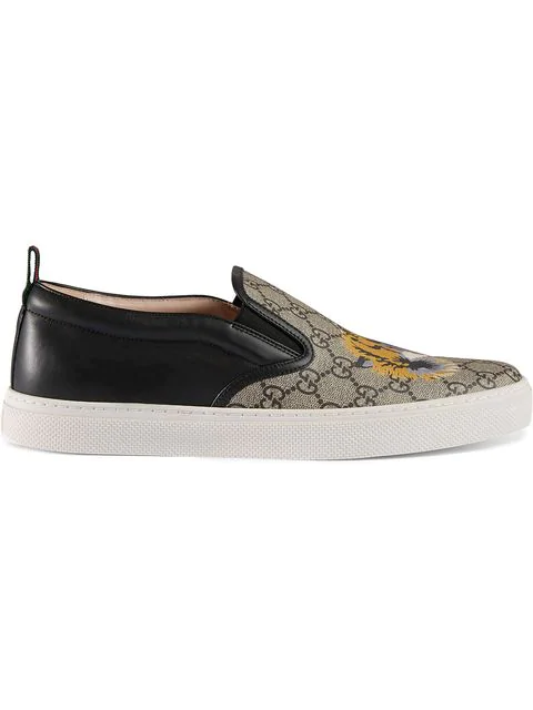 Gucci Dublin Tiger-Print Leather And Canvas Skate Shoes In 8979 Beige