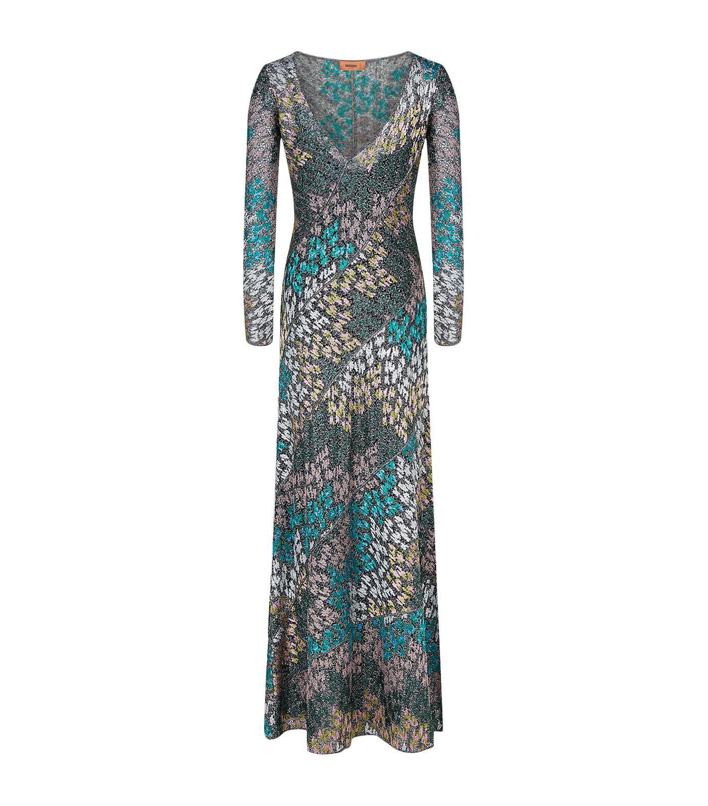 Missoni Metallic Crochet-Knit Maxi Dress In Green