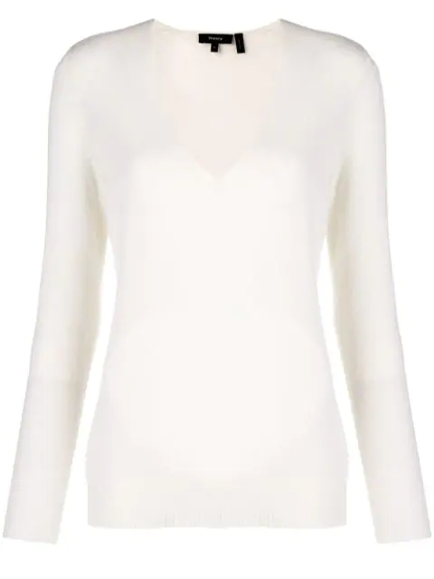 Theory V-neck Button-sleeve Cashmere Sweater In White