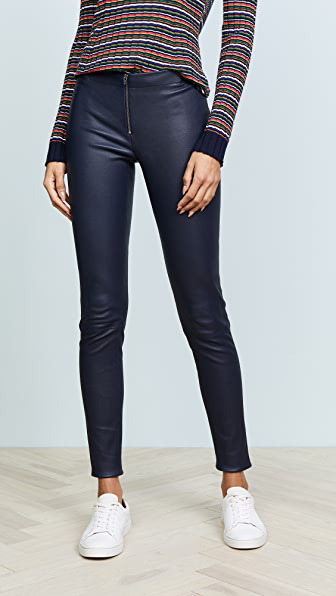 Alice And Olivia Alice + Olivia Zip Front Leather Leggings In Navy