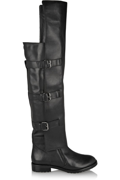 Tibi Gia Leather Over-The-Knee Boots In Black