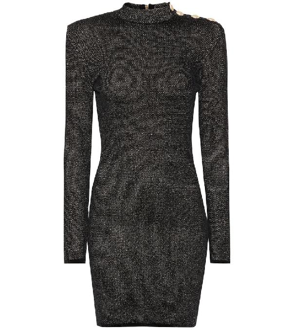 Balmain Metallic Knitted Mini Dress In Noir/Or C5100