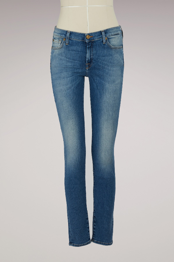 7 For All Mankind Skinny Pants In Light