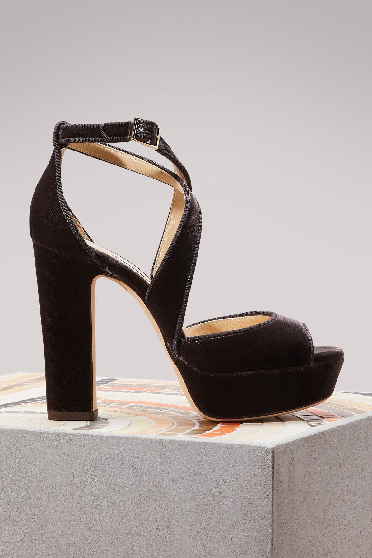Jimmy Choo April 120 Velvet Sandals In Dark Mink