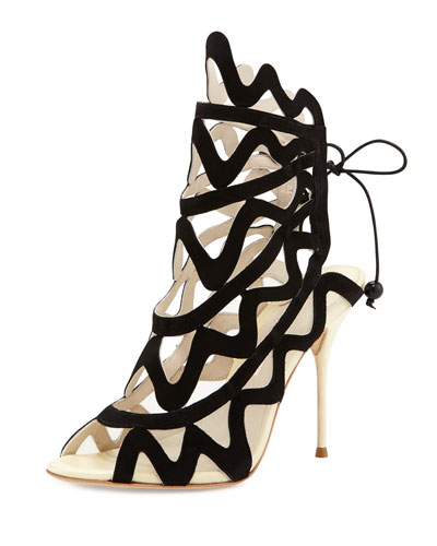 Sophia Webster Mila Suede Cutout Peep-Toe Bootie, Black