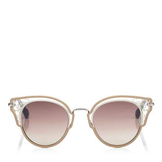 adb4d422a1d17 Jimmy Choo Dhelia Nude And Palladium Metal Sunglasses In Enq Brown Silver
