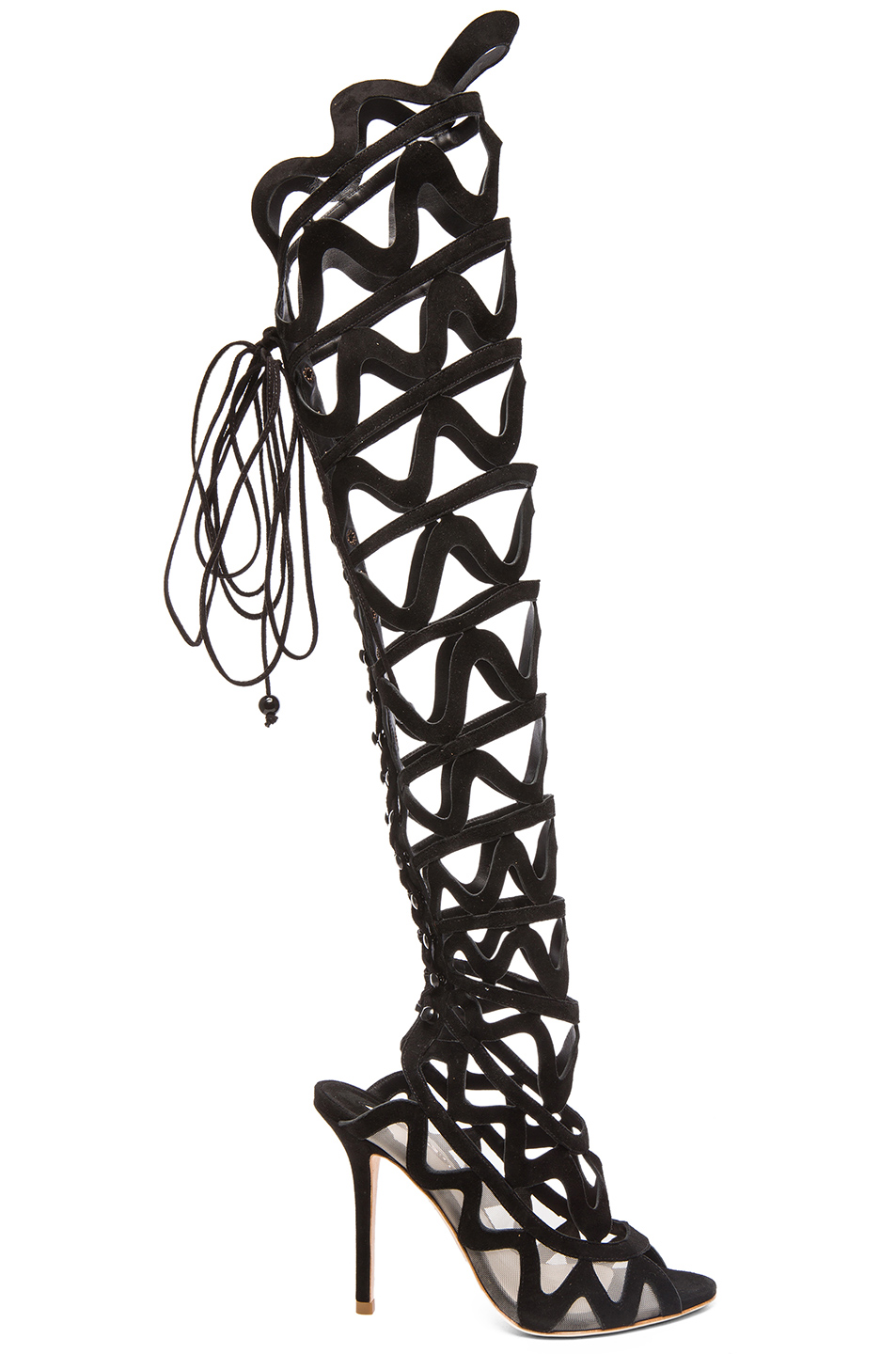 Sophia Webster Mila Suede Cutout Over-The-Knee Boot, Black