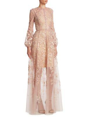 0c4bcc061cecf J Mendel Floral-Embroidered Silk Tulle Gown In Blush