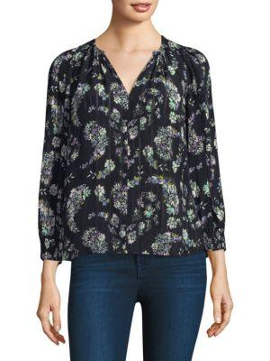 Rebecca Taylor Floral-Print Silk Top In Black Combo