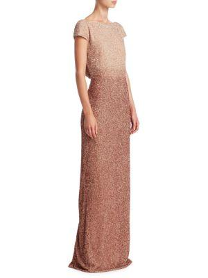 e1ce92ddb7383 Pamella Roland Beaded Silk Gown In Rose Gold | ModeSens
