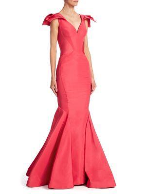 Zac Posen Silk Mermaid Gown In Raspberry