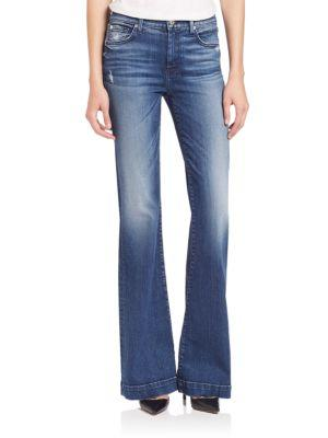 7 For All Mankind Dojo Tailorless Distress Flared Jeans In Lake Blue