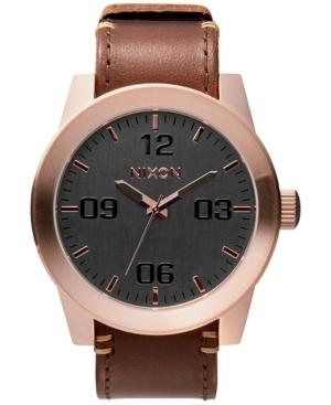 Nixon Men's Corporal Leather Strap Watch 48Mm A243 In Rose Gold