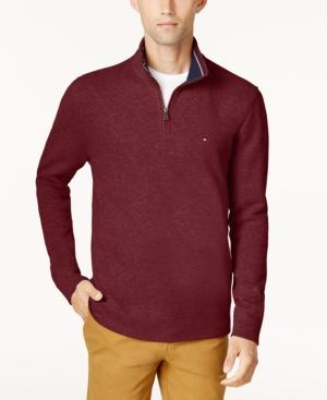 cbaf2a05 Tommy Hilfiger French Rib Quarter-Zip Sweater In Sun Dried Tomato ...