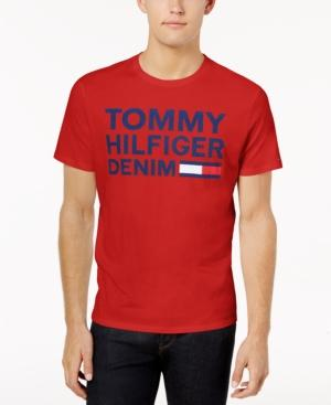 Tommy Hilfiger Denim Men's Graphic-Print T-Shirt In Apple Red