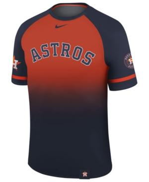 Nike Men's Houston Astros Dri-Fit Sublimated Raglan T-Shirt In Navy