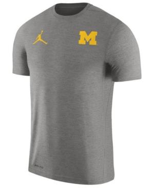 Nike Men's Michigan Wolverines Dri-Fit Touch T-Shirt In Heather Charcoal