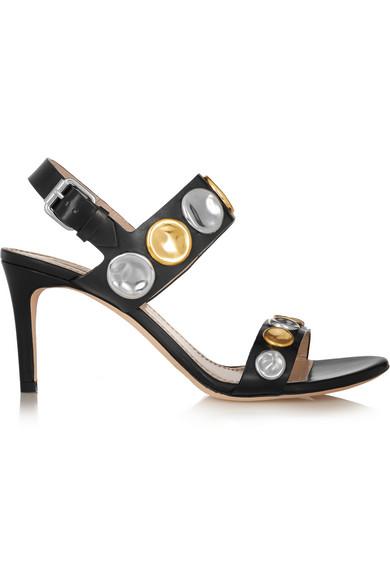 Marc Jacobs Embellished Leather Sandals In Black