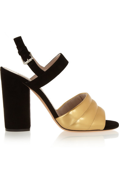 Marc Jacobs Black And Gold Leather High Heel Sandal