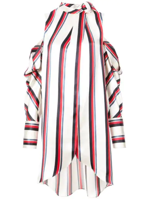 Monse Oversized Cold-shoulder Striped Satin-twill Blouse In White