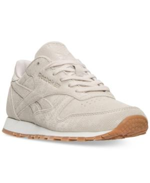 00a52fe62 Reebok Women's Classic Leather Exotic Casual Sneakers From Finish Line In  Stucco/Chalk/Sand