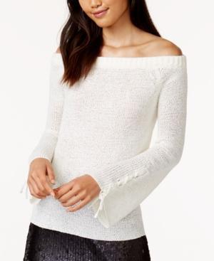 Minkpink Antoinette Off-The-Shoulder Knit Top In White