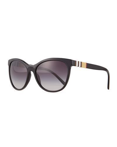 954ec6b6f62a Burberry Check-Trim Cat-Eye Sunglasses In Black