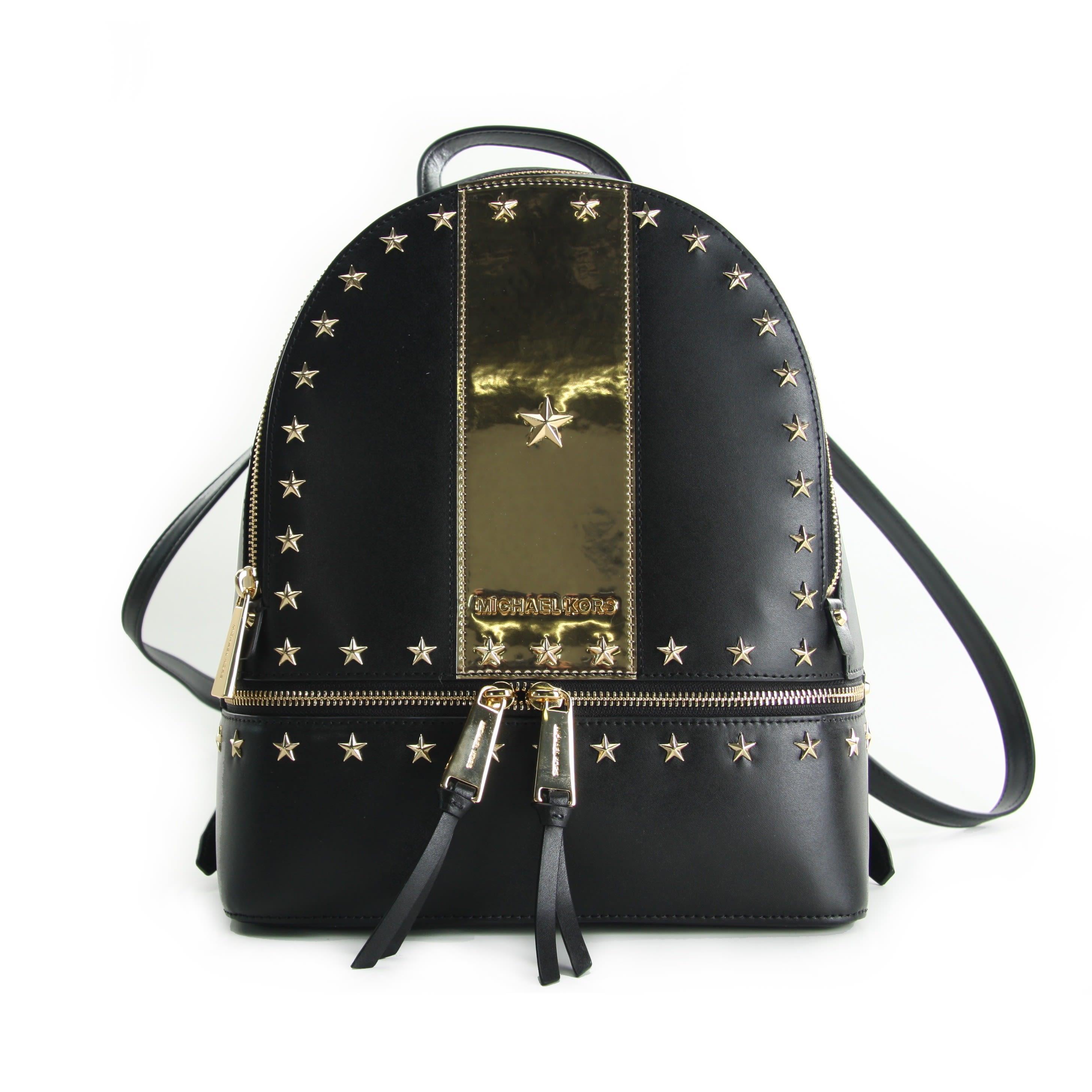 63cf6aef83db Michael Michael Kors Rhea Medium Stars Studded Backpack Black-Gold ...