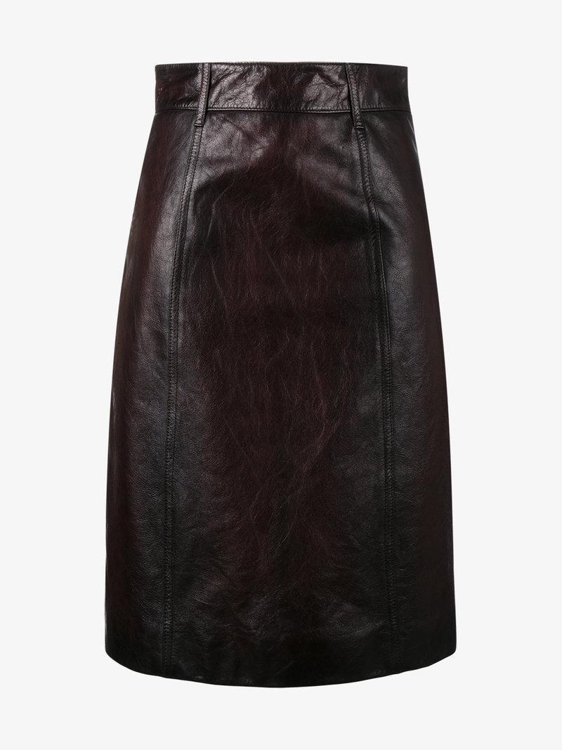 9a4bfaa755 Prada Leather Pencil Skirt - Brown | ModeSens