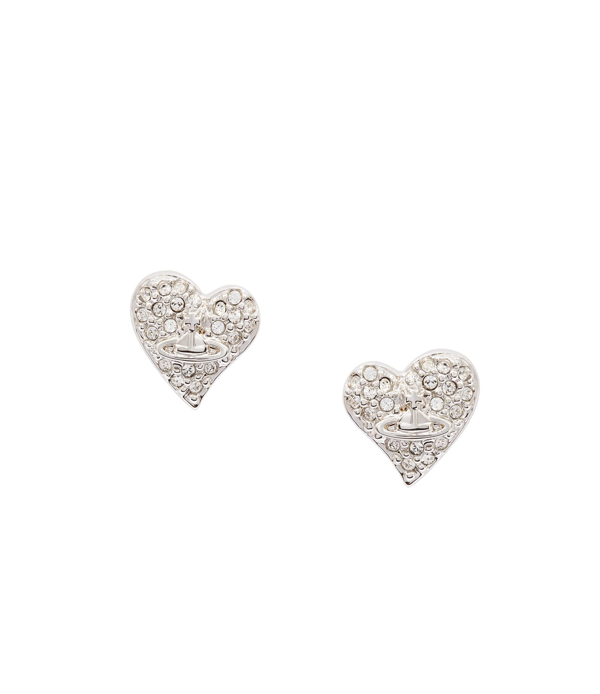a15f8249a Vivienne Westwood Anglomania Tiny Diamante Heart Studs Earrings In Silver