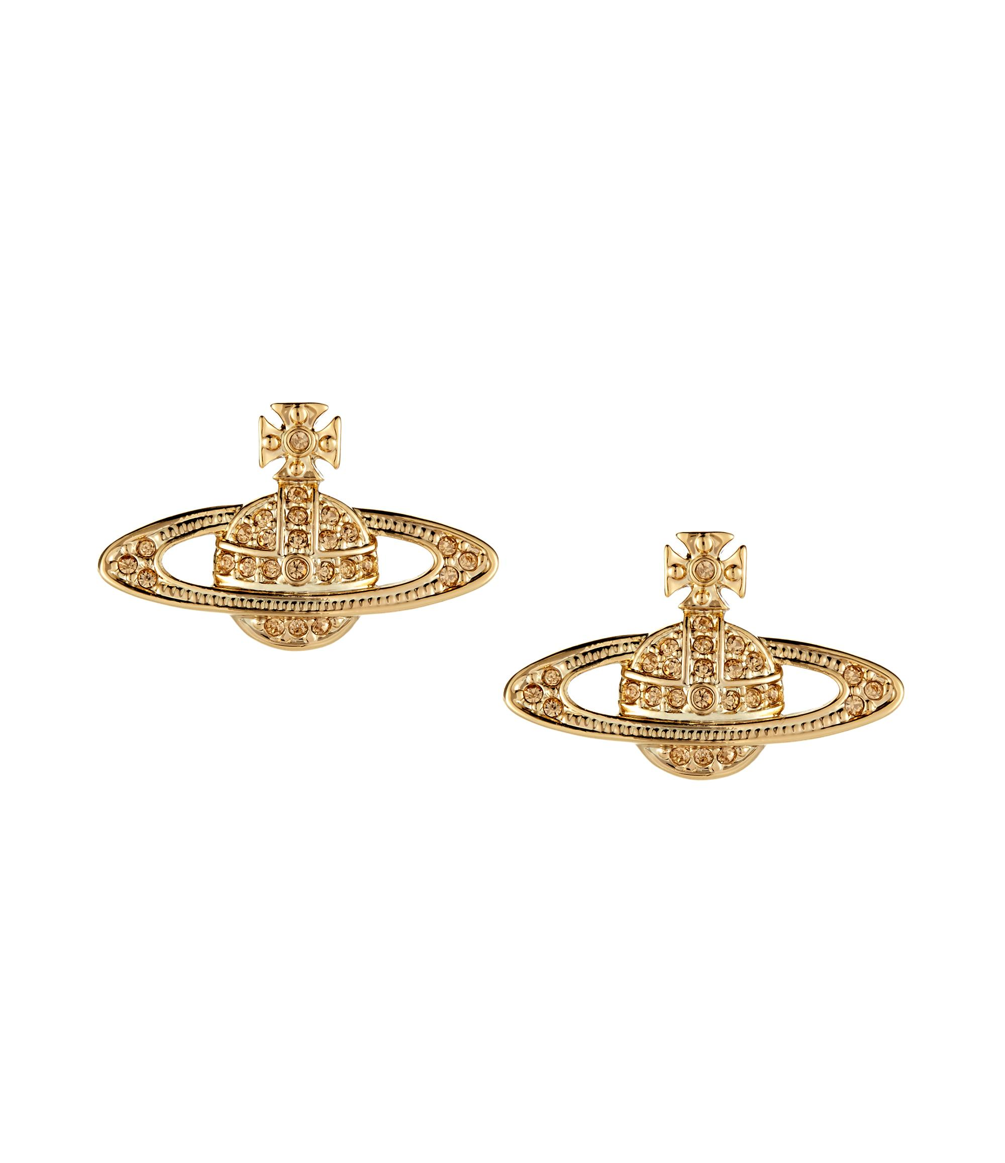 ceba25f0ada Vivienne Westwood Anglomania Mini Bas Relief Earrings Light Topaz In Gold