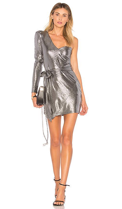 Nbd Aoki Dress In Metallic Silver.
