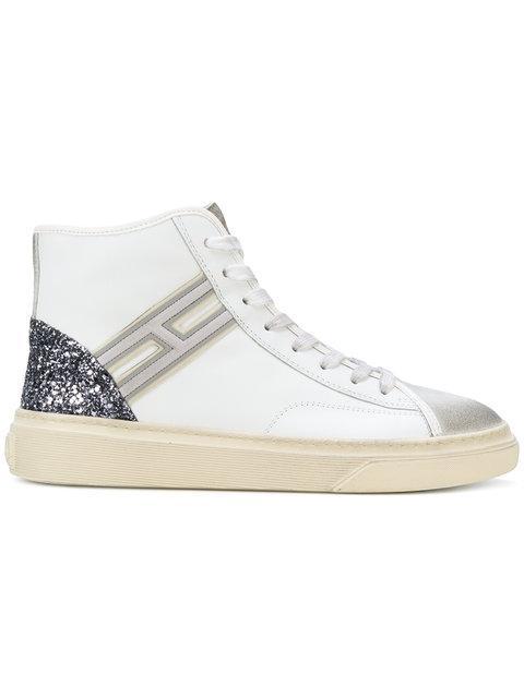Hogan Glitter Heel Counter Hi-top Sneakers In White